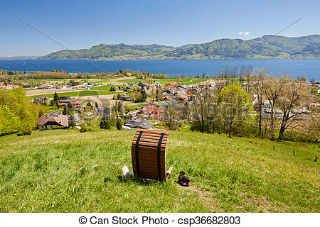 Stock Photography of Nussdorf at lake Attersee Pfarrer Salettl.