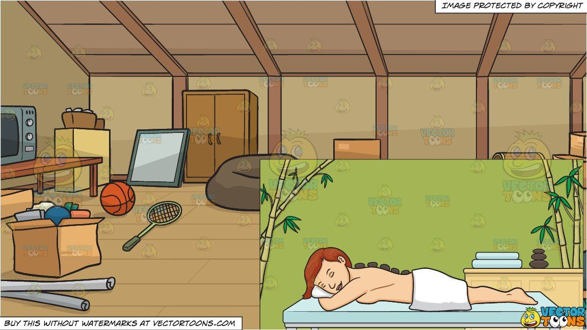 clipart #cartoon A Woman Relaxing In A Spa and A Messy Attic.