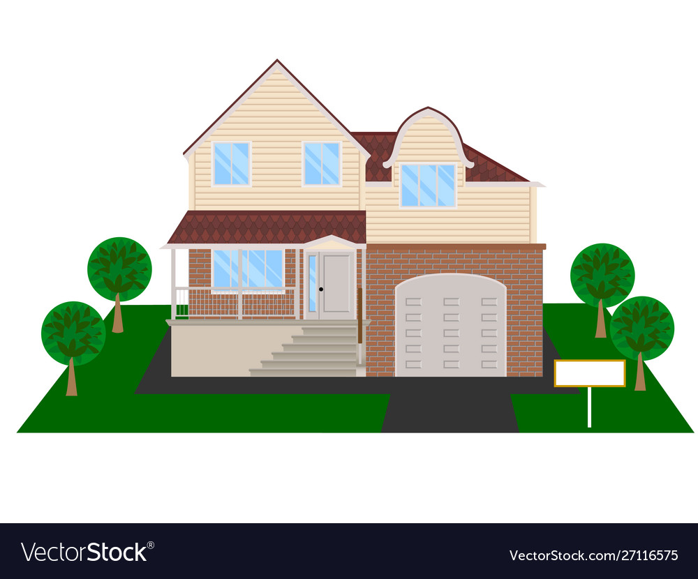 Modern house with attic and garage clipart.