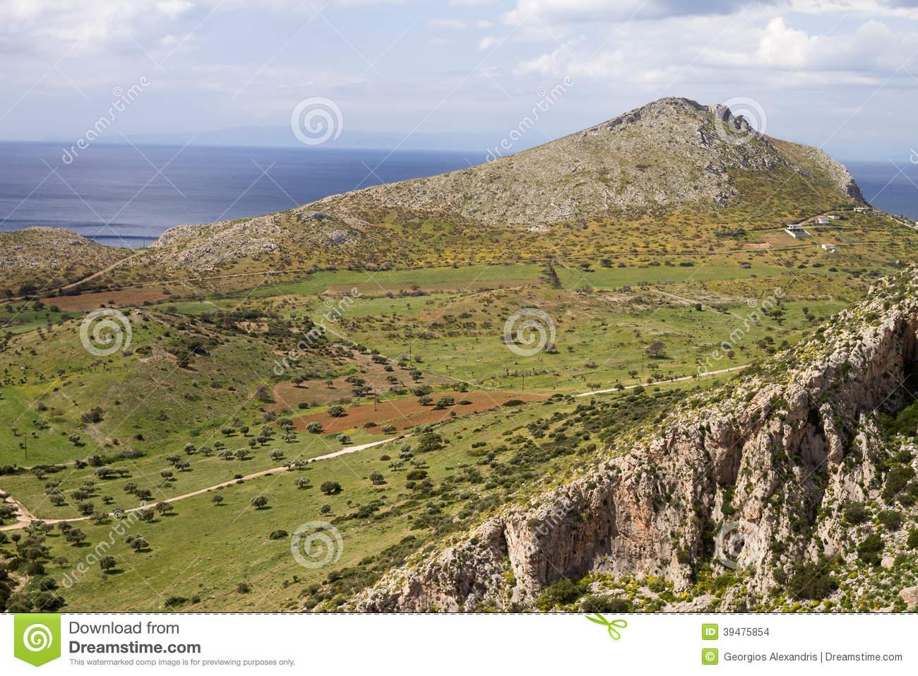 Attica Greek Landscape Stock Photo.