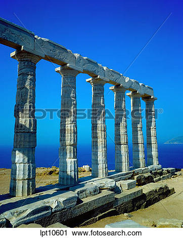 Stock Photography of PERISTYLE OF DORIC TEMPLE OF POSEIDON CAPE.