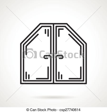 A attika, ablak, vektor, fekete, egyenes, ikon.