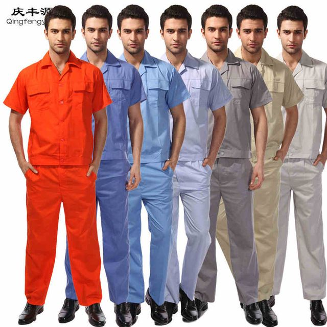 Mechanic Overalls Men Factory Uniforms tops long pants.