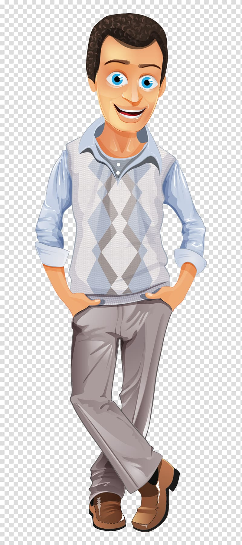 Man wearing gray shirt and pants , Business casual Casual.