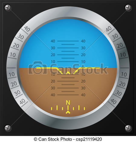 Vector Illustration of Airplane attitude indicator design.