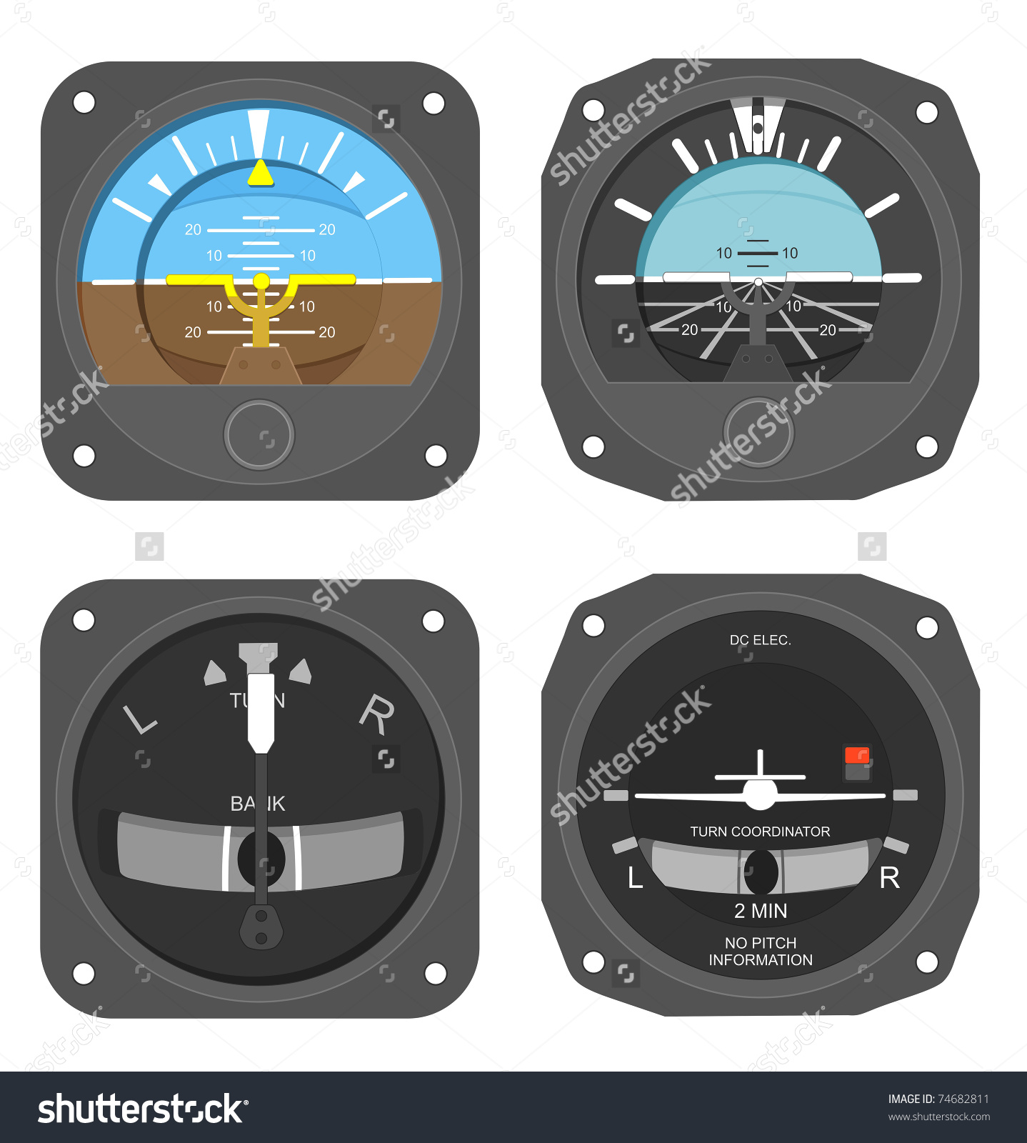 Set Aircraft Instruments Two Attitude Indicators Stock.