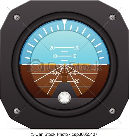Vector Clipart of attitude indicator.