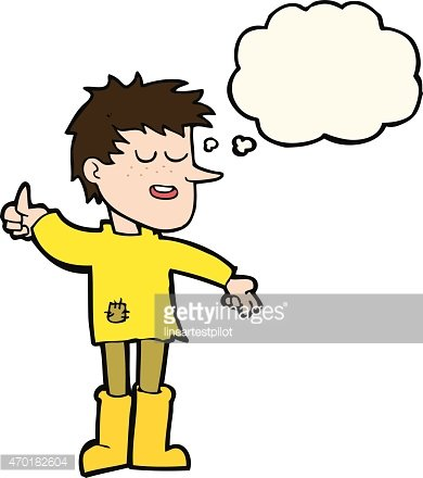 cartoon poor boy with positive attitude with thought bubble.