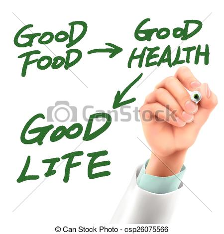 Clip Art Vector of doctor writing life attitude words in the air.