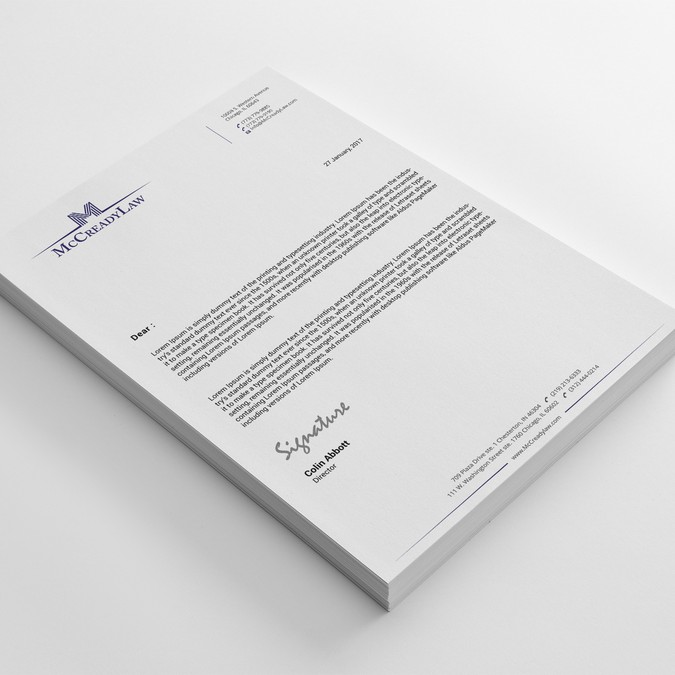 Letterhead for law firm.