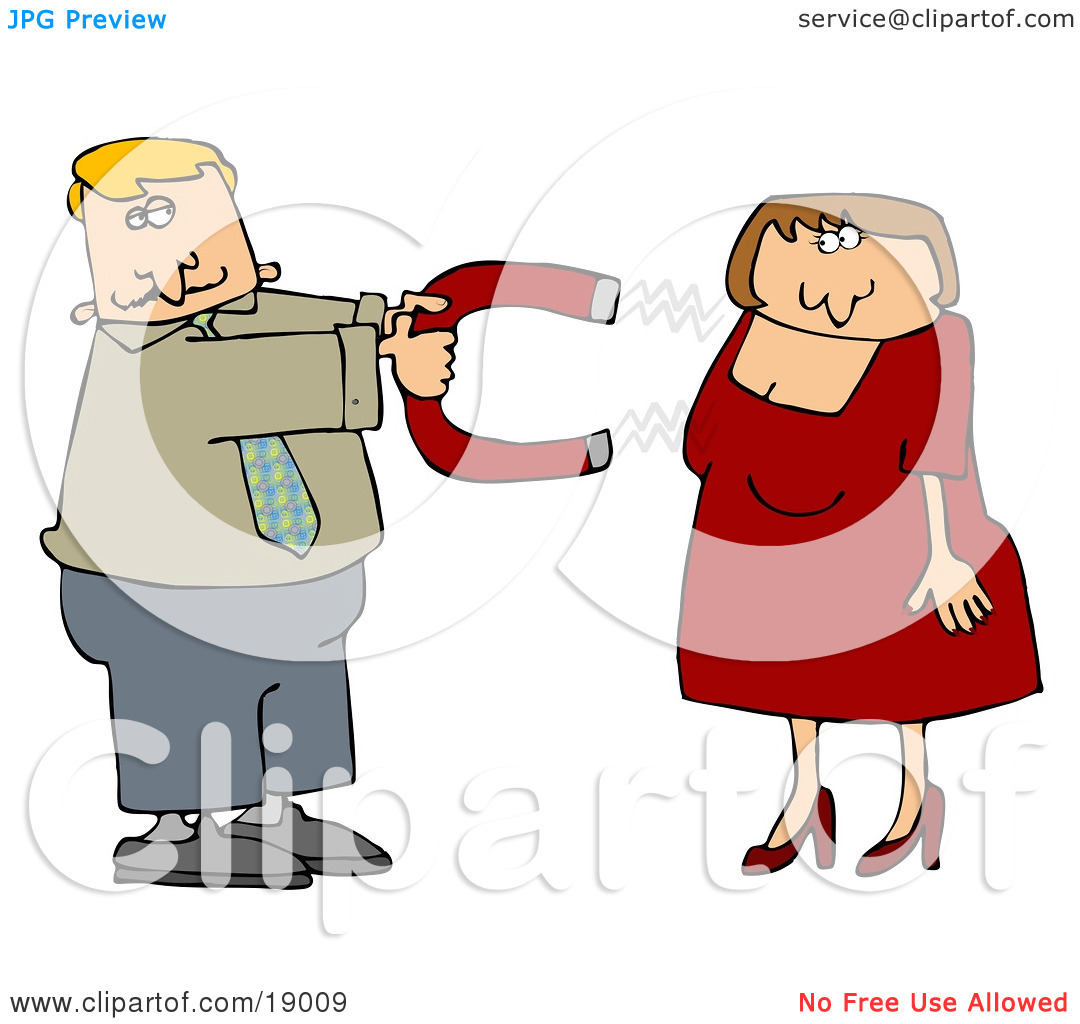 Clipart Illustration of a Desperate Man In Need Of Love, Holding A.