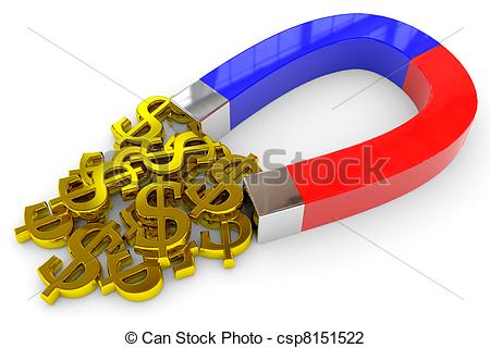 Clip Art of Horseshoe two color magnet attracts gold dollar signs.