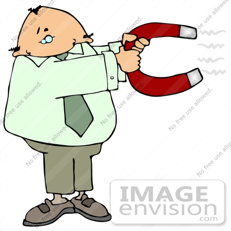 Clip Art Graphic of a Man Holding A Magnet In Hopes Of Attracting.