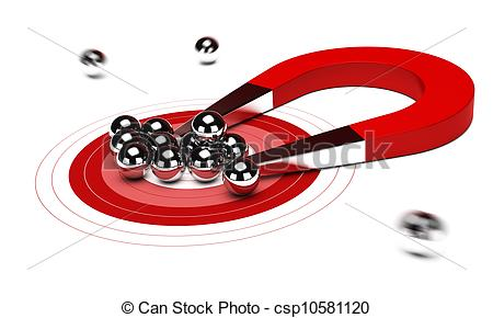 Clip Art of red horseshoe magnet attracting some chrome balls.