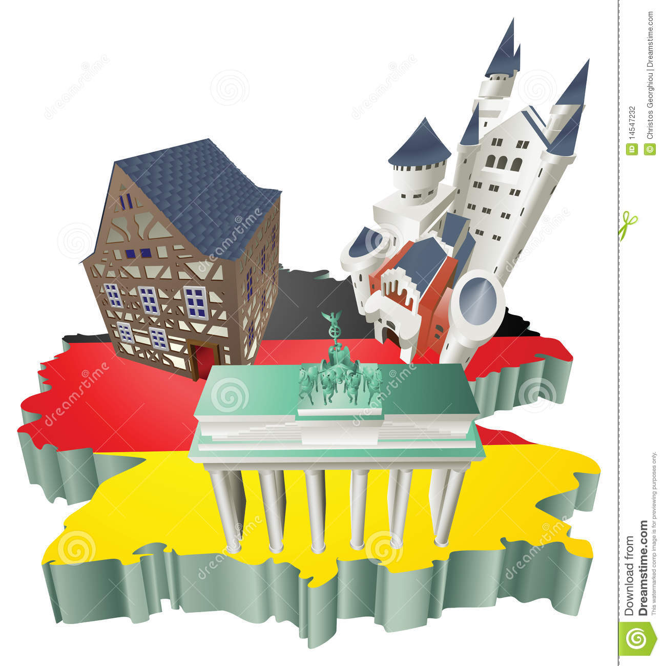 Illustration German Tourist Attractions In Germany Stock.