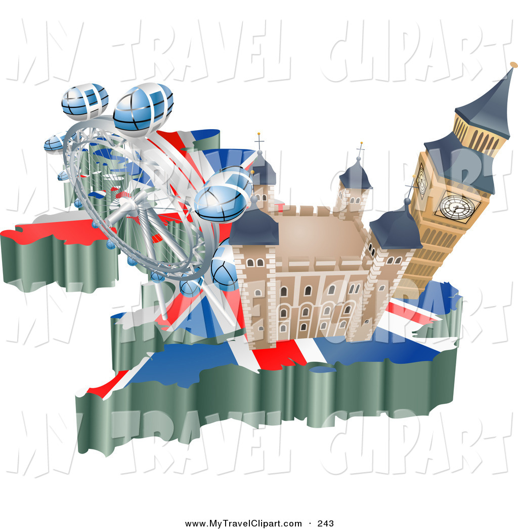 Clipart of a Group of Tourist Attractions in the United Kingdom.