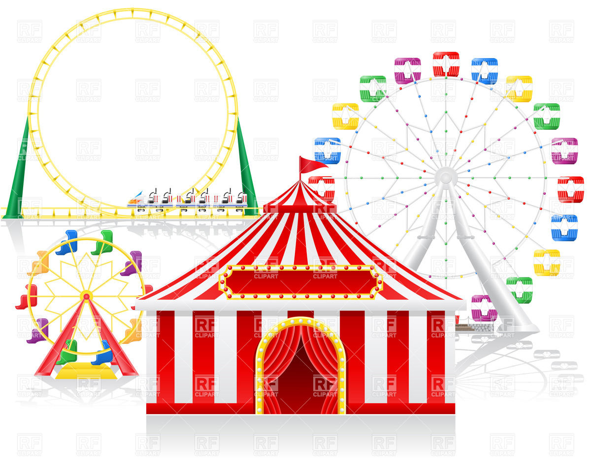 Circus tent and attractions Vector Image #22537.