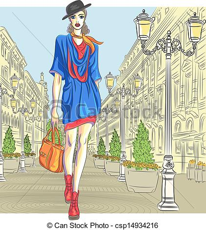 Vector Clip Art of Vector attractive fashion girl goes for St.