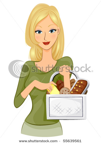 Of An Attractive Woman Holding A Basket Full Of Groceries In A.