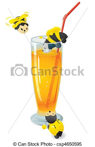 Clipart Vector of Cute bees attracted by the sweet scent of orange.