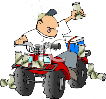 Royalty Free Clipart Image of a Man Drinking on an ATV.