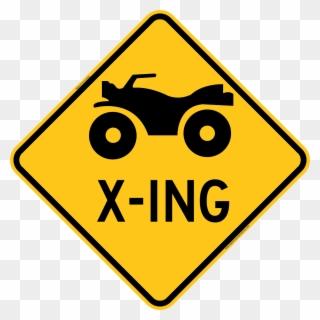 Atv Crossing Warning Trail Sign Yellow.