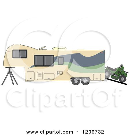 Cartoon of a Toy Hauler Trailer and ATV.