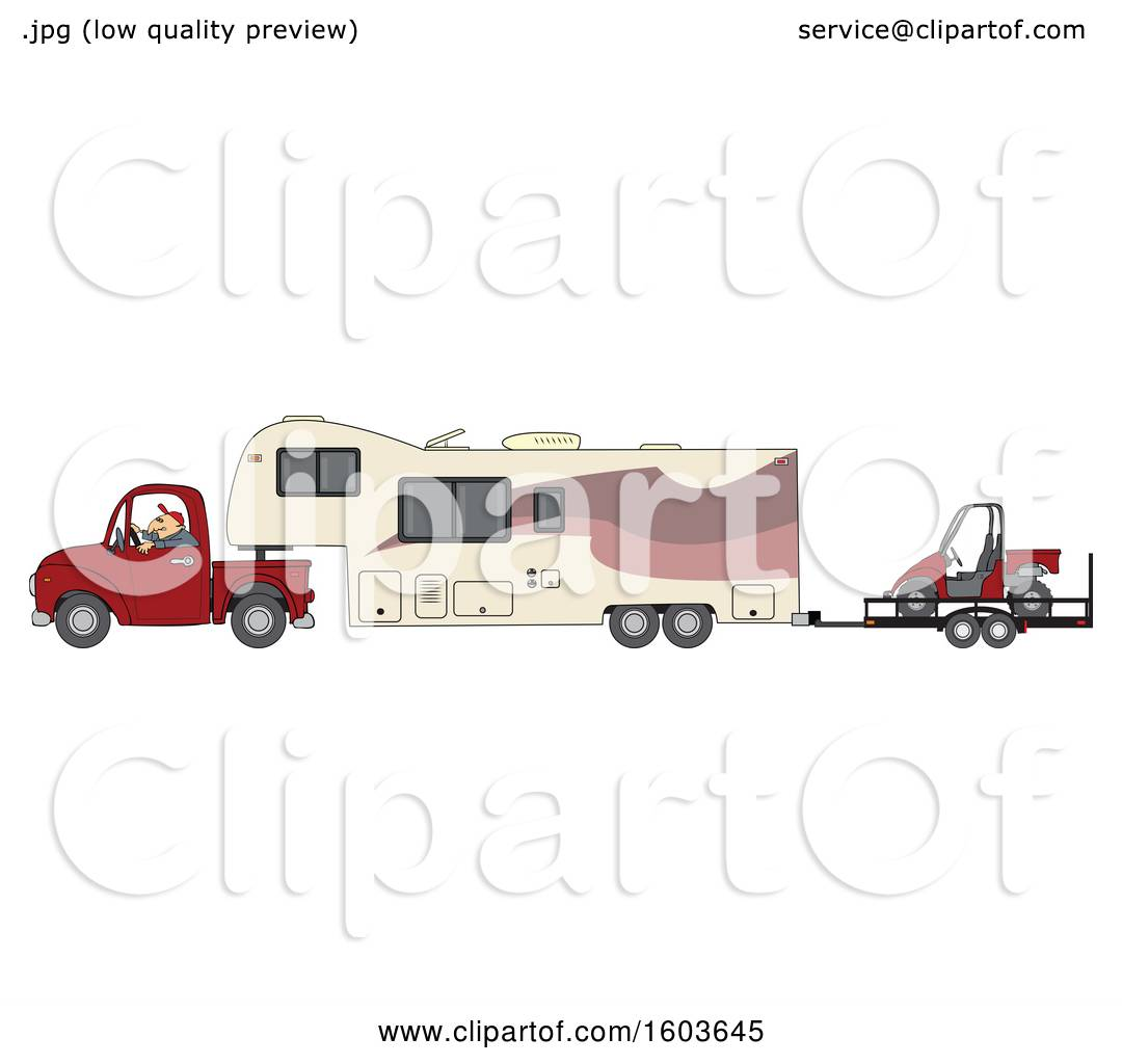 Clipart of a Cartoon White Man Driving a Pickup Truck and.