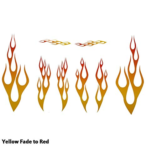 Wild Dingos LLC Full Color Flame Decal Kit Golf Cart, ATV, RC Truck, UTV,  Motorcycle, Helmet Large (Yellow Fade to RED).