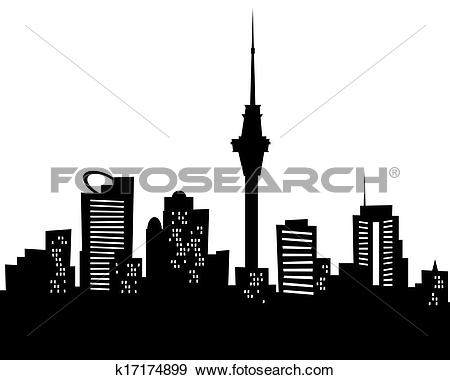 Clipart of Auckland city skyline vector silhouette k14830911.