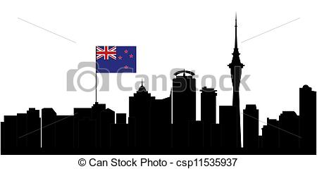 Drawings of auckland skyline with flag.