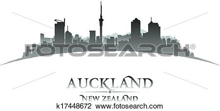 Clipart of Auckland New Zealand city silhouette white background.
