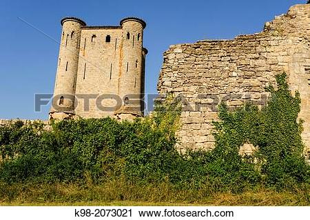 Stock Photography of Arques Castle (13th Century), Aude Department.