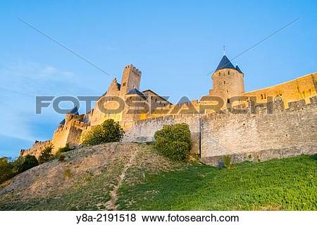 Pictures of Carcassonne Castle and city walls within medieval.