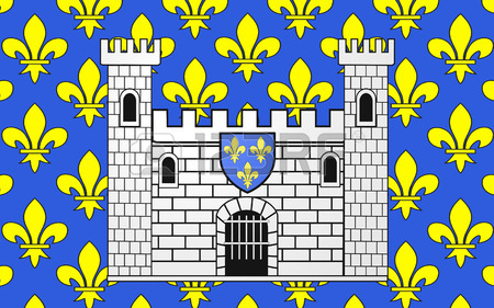 Flag Of Carcassonne Is A Fortified French Town In The Aude.