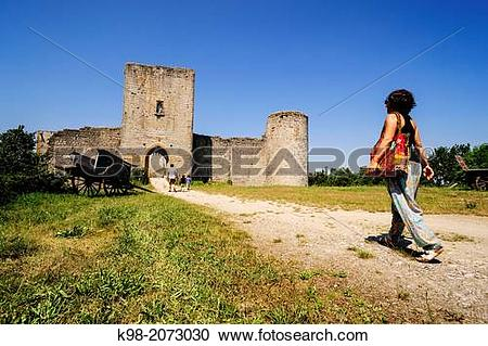 Stock Photography of Puivert Castle, 13th Century, Cathar Castle.