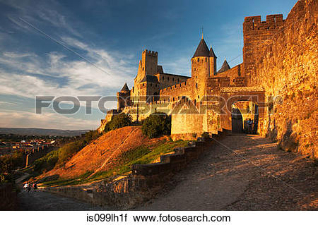 Stock Photography of Medieval walled city of carcassonne, aude.