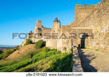 Stock Photo of Porte d'Aude city gates entrance to medieval.