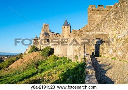 Stock Photo of Porte d'Aude city gates entrance to medieval.