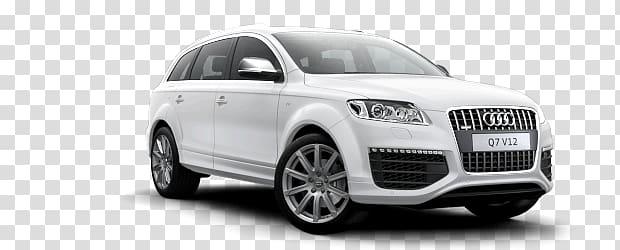 White Audi SUV, Audi Q7 transparent background PNG clipart.