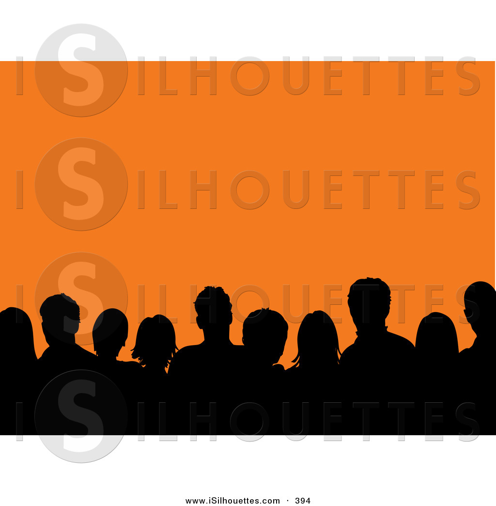 Silhouette Clipart of a Black Silhouetted Audience of Men and Women.