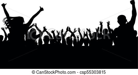 Cheerful people crowd, silhouette. Party, applause. Fans dance concert,  disco.