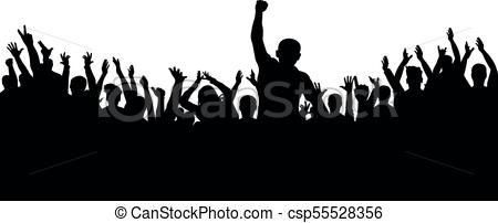 Applause of the crowd of people silhouette. Cheerful group of fans.
