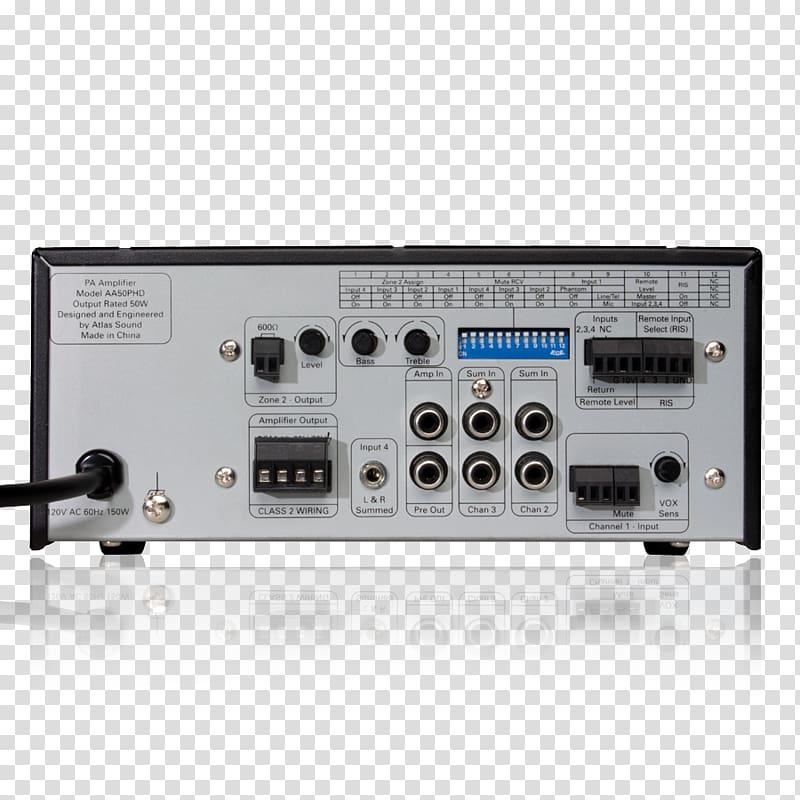 RF modulator Radio receiver Audio power amplifier.