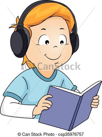 Clipart Vector of Kid Boy Book Audiobook.