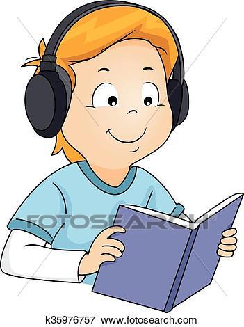 Kid Boy Book Audiobook Clip Art.