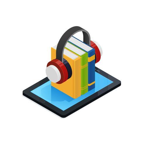 Online Audio Books Isometric Design.