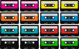 Neon cassette tape clipart.