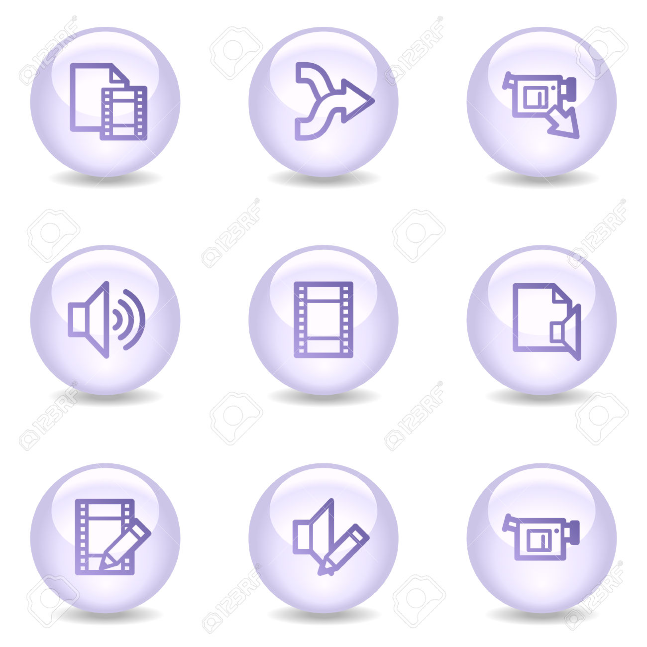 Audio And Video Editing Web Icons, Glossy Pearl Series Royalty.