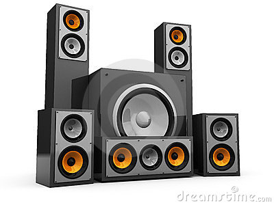 Speakers Audio Loud System Set Stock Illustration.